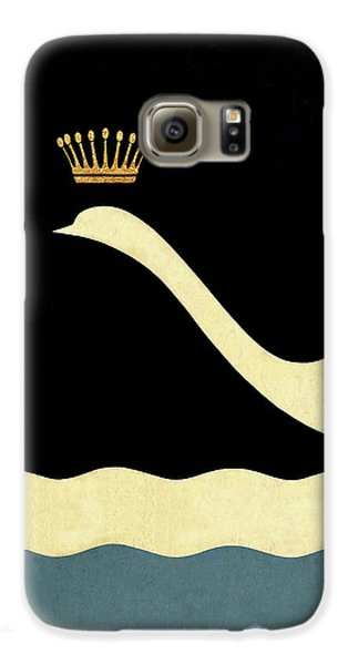 Minimalist Swan Queen Flying Crowned Swan Galaxy S6 Case by Tina Lavoie