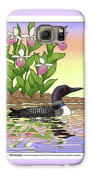 Minnesota State Bird Loon And Flower Ladyslipper Galaxy S6 Case by Crista Forest
