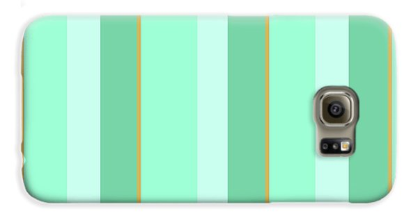 Galaxy S6 Case featuring the mixed media Mint Green Stripe Pattern by Christina Rollo