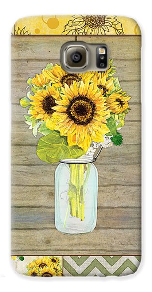 Modern Rustic Country Sunflowers In Mason Jar Galaxy S6 Case by Audrey Jeanne Roberts