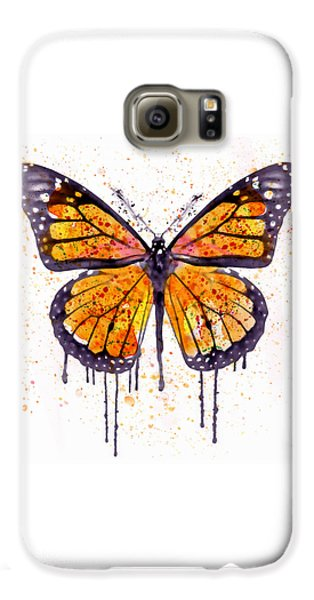 Monarch Butterfly Watercolor Galaxy S6 Case by Marian Voicu