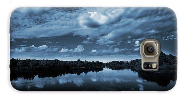 Landscapes Galaxy S6 Case - Moonlight Over A Lake by Jaroslaw Grudzinski