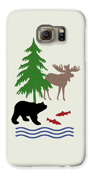 Moose And Bear Pattern Art Galaxy S6 Case by Christina Rollo