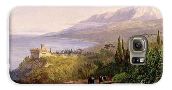 Mount Athos And The Monastery Of Stavroniketes Galaxy S6 Case by Edward Lear