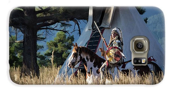 Native American In Full Headdress In Front Of Teepee Galaxy S6 Case