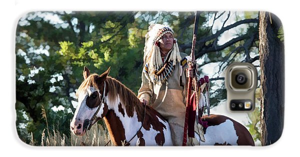 Native American In Full Headdress On A Paint Horse Galaxy S6 Case