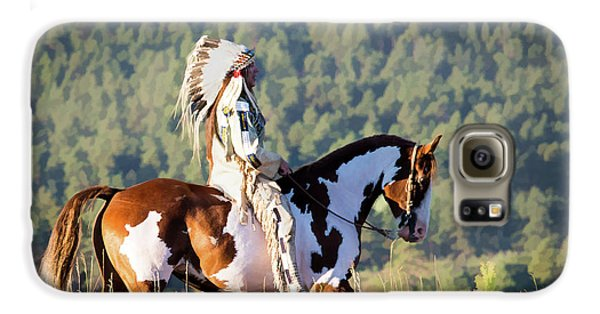 Native American On His Paint Horse Galaxy S6 Case