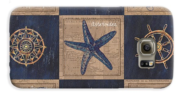 Seahorse Galaxy S6 Case - Nautical Burlap by Debbie DeWitt