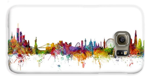 New York And London Skyline Mashup Galaxy S6 Case by Michael Tompsett