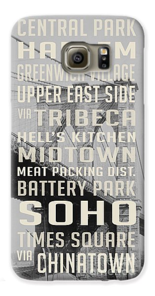 Harlem Galaxy S6 Case - New York City Subway Stops Vintage Brooklyn Bridge by Edward Fielding