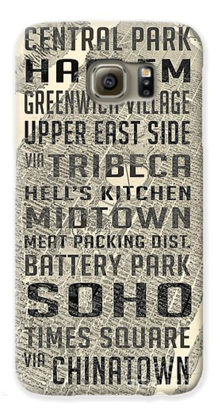 Harlem Galaxy S6 Case - New York City Subway Stops Vintage Map 5 by Edward Fielding