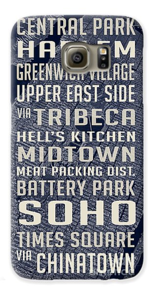 Harlem Galaxy S6 Case - New York City Vintage Subway Stops With Map by Edward Fielding