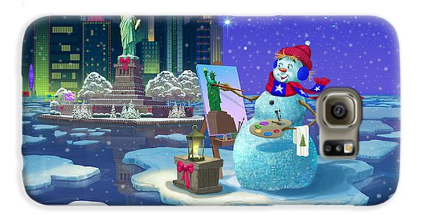 Statue Of Liberty Galaxy S6 Case - New York Snowman by Michael Humphries