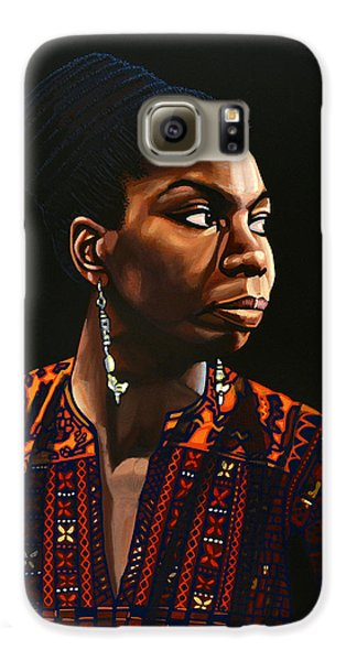 Nina Simone Painting Galaxy S6 Case by Paul Meijering