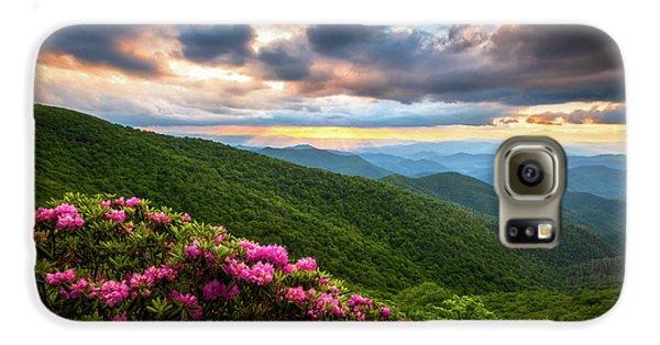 Mountain Sunset Galaxy S6 Case - North Carolina Blue Ridge Parkway Scenic Landscape Asheville Nc by Dave Allen