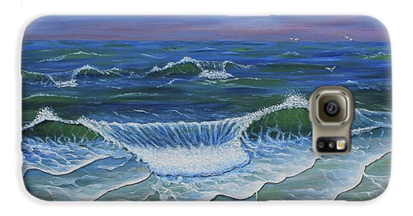 Galaxy S6 Case featuring the painting Ocean Waves Dance At Dawn Original Acrylic Painting by Georgeta Blanaru