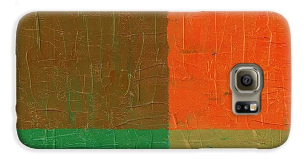 Galaxy S6 Case featuring the painting Orange With Brown And Teal by Michelle Calkins