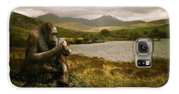 Orangutan With Smart Phone Galaxy S6 Case by Amanda Elwell