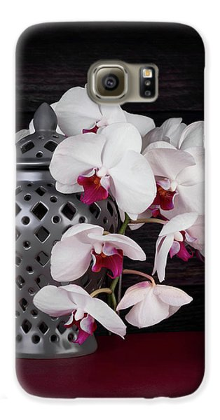 Orchid Galaxy S6 Case - Orchids With Gray Ginger Jar by Tom Mc Nemar