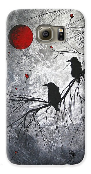 Original Abstract Surreal Raven Red Blood Moon Painting The Overseers By Madart Galaxy S6 Case