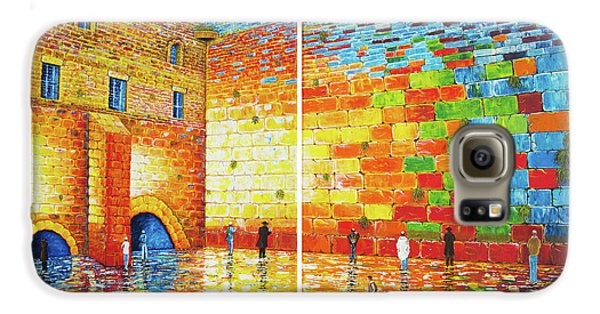 Galaxy S6 Case featuring the painting Original Western Wall Jerusalem Wailing Wall Acrylic 2 Panels by Georgeta Blanaru