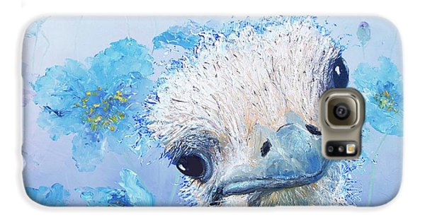 Ostrich In A Field Of Poppies Galaxy S6 Case