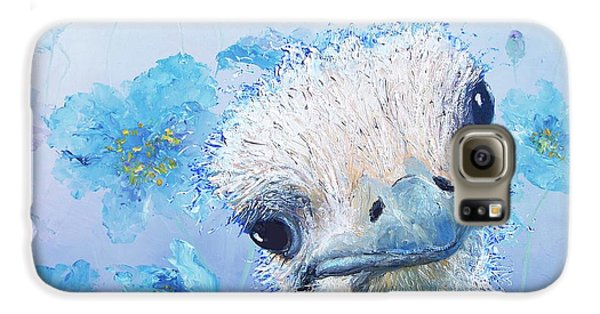 Ostrich In A Field Of Poppies Galaxy S6 Case by Jan Matson