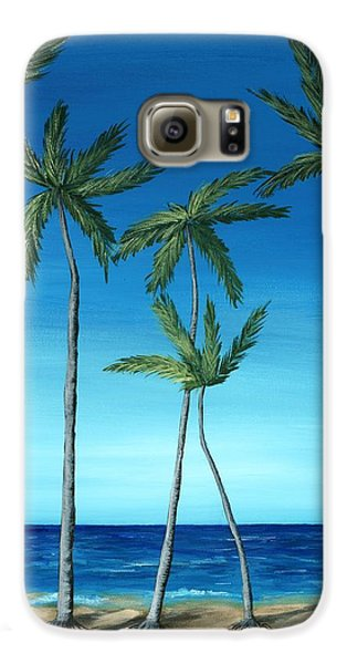 Galaxy S6 Case featuring the painting Palm Trees On Blue by Anastasiya Malakhova