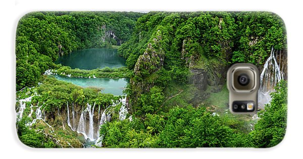 Panorama Of Turquoise Lakes And Waterfalls - A Dramatic View, Plitivice Lakes National Park Croatia Galaxy S6 Case