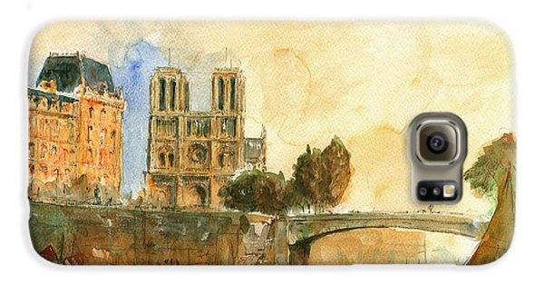 Paris Watercolor Galaxy S6 Case by Juan  Bosco