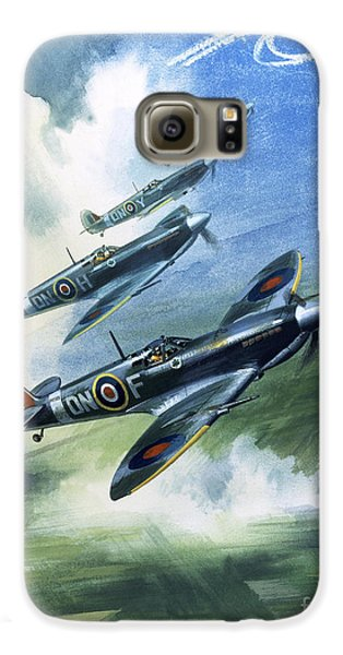 Patrolling Flight Of 416 Squadron, Royal Canadian Air Force, Spitfire Mark Nines Galaxy S6 Case by Wilf Hardy