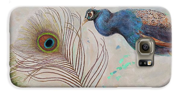 Galaxy S6 Case featuring the painting Peacock In Three Views by Nancy Lee Moran