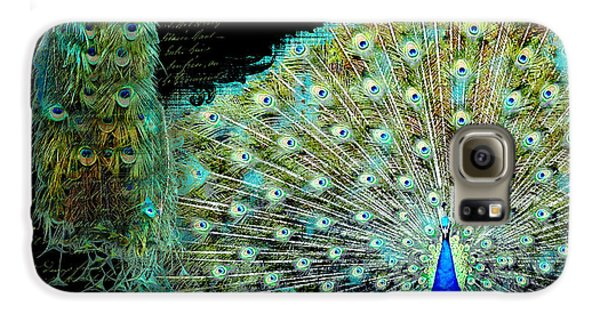 Peacock Pair On Tree Branch Tail Feathers Galaxy S6 Case by Audrey Jeanne Roberts