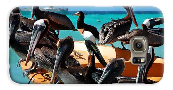 Pelicans On A Boat Galaxy S6 Case by Bibi Romer