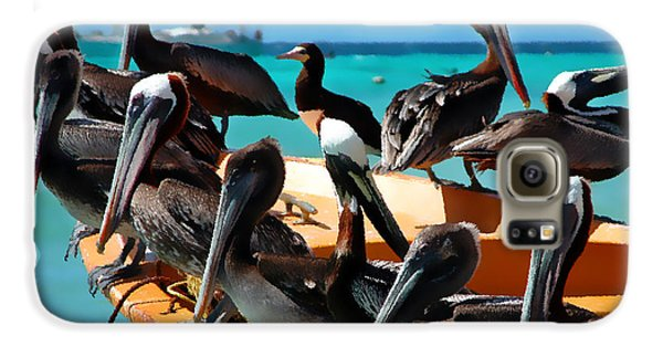 Pelican Galaxy S6 Case - Pelicans On A Boat by Bibi Rojas