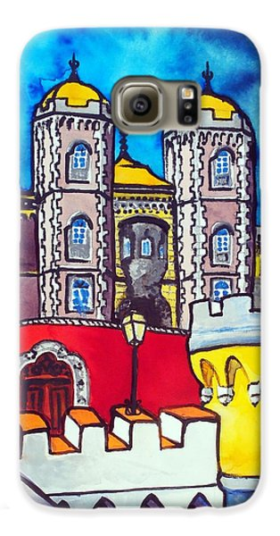 Galaxy S6 Case featuring the painting Pena Palace In Sintra Portugal  by Dora Hathazi Mendes