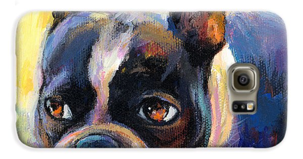 Pensive Boston Terrier Dog Painting Galaxy S6 Case