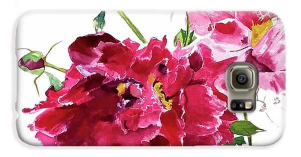 Galaxy S6 Case featuring the painting Peony by Patti Ferron