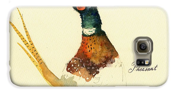 Pheasant Galaxy S6 Case - Pheasant Painting by Juan  Bosco