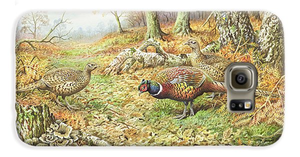 Pheasants With Blue Tits Galaxy S6 Case by Carl Donner
