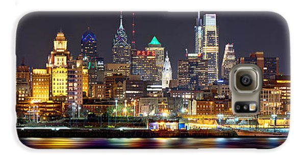 Cities Galaxy S6 Case - Philadelphia Philly Skyline At Night From East Color by Jon Holiday