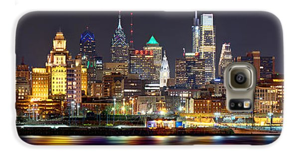 City Scenes Galaxy S6 Case - Philadelphia Philly Skyline At Night From East Color by Jon Holiday