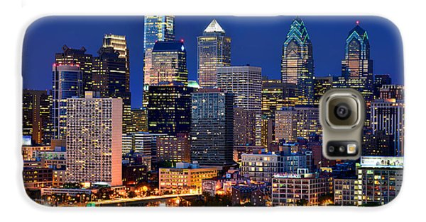 Philadelphia Skyline At Night Galaxy S6 Case by Jon Holiday