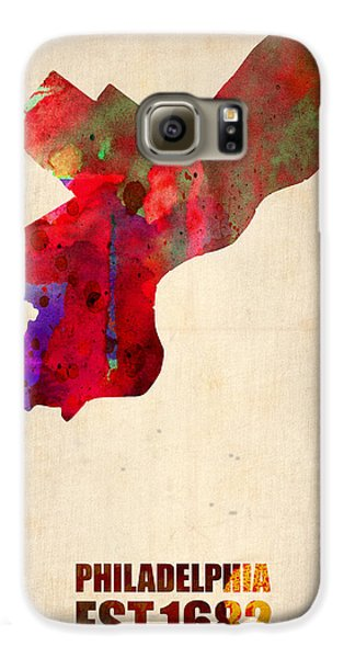 Philadelphia Watercolor Map Galaxy S6 Case by Naxart Studio