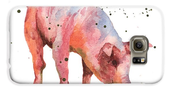 Pig Painting Galaxy S6 Case by Alison Fennell