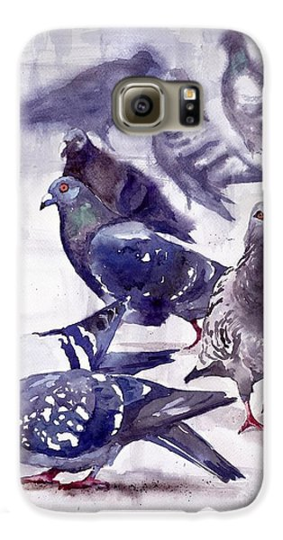 Pigeon Galaxy S6 Case - Pigeons Watercolor by Suzann's Art
