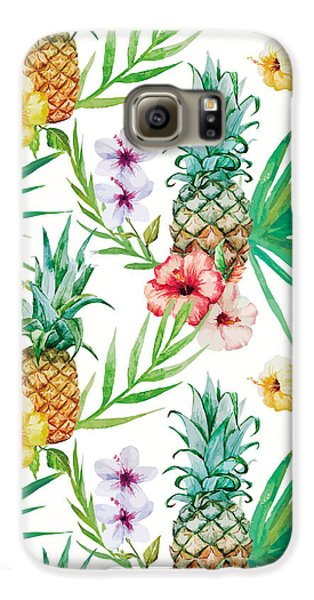 Pineapple And Tropical Flowers Galaxy S6 Case
