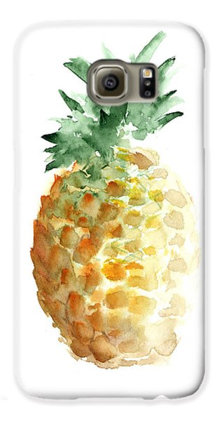 Pineapple Watercolor Minimalist Painting Galaxy S6 Case by Joanna Szmerdt