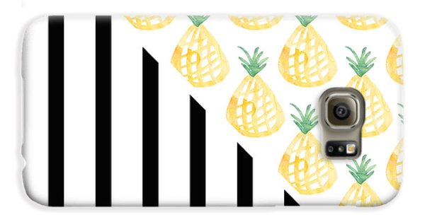 Pineapples And Stripes Galaxy S6 Case by Linda Woods