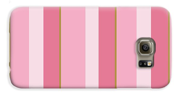 Galaxy S6 Case featuring the mixed media Pink Blush Stripe Pattern by Christina Rollo
